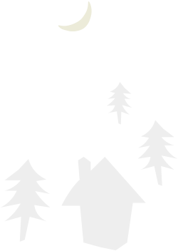 家と森と月のイラスト