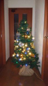 クリスマスツリー(点灯中)の画像